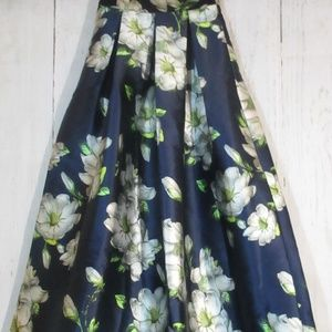 goodtime usa womens navy blue floral full skirt